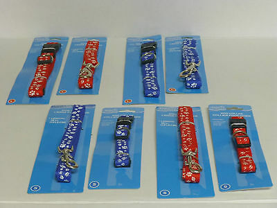 Paws N Claws Dog Collar And Leash Set In Red Or Blue Nylon Small Or Large