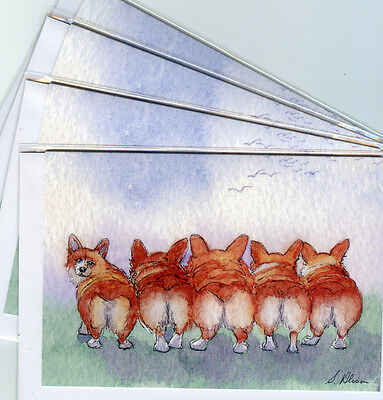 4 x Welsh Corgi dog greeting cards five run away together Enid Blyton S Alison