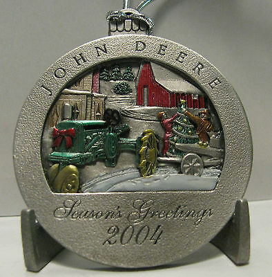 * 2004 John Deere GP Tractor Collectors Christmas Pewter Ornament 9th  Series jd