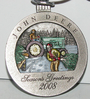 * John Deere 60 Tractor 2008 Collectors Christmas Pewter Ornament 13th Series jd