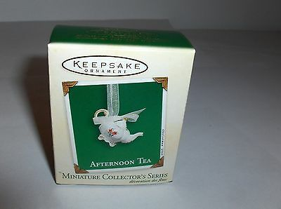 Afternoon Tea`2003`Miniature-1St In Series Porcelian Pot,Hallmark Ornament->New