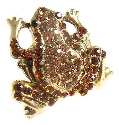 Golden Topaz Chunky Frog Crystal Fully Adjustable Fashion Cocktail Ring Gift