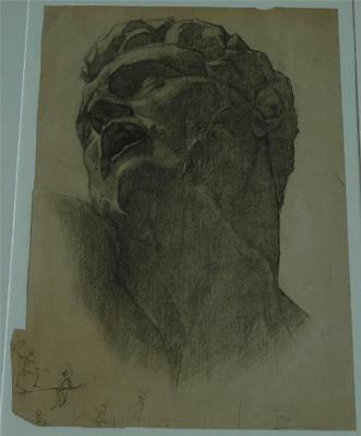 Vintage Charcoal or Conte Crayon Drawing of a Roman or Grecian Portrait of Man