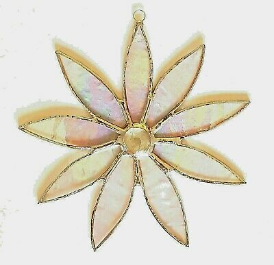 Clear iridescent Daisy stained glass suncatcher garden flower Mothers day gift