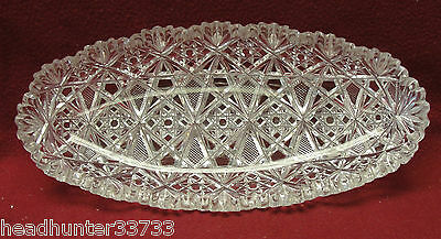 ANTIQUE AMERICAN BRILLIANT CUT CRYSTAL PICKLE DISH / CELERY TRAY