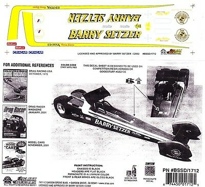 BARRY SETZER slixx 1/25th - 1/24th Scale WATERSLIDE DECAL #BSSD-1712