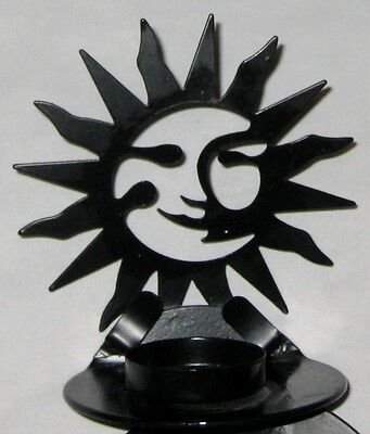 """Black Metal 5"""" Tall Candle Holder Moon Back"""