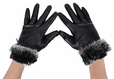 The New Women Faux Leather Gloves, Sheepskin Gloves with Warm Fur Gloves