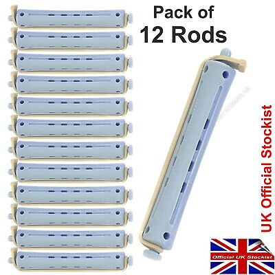 Perm Curler Rods For Perming Hair.GREY / BLUE Larger Size Rollers Pack of 12