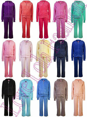 Childrens Velour Tracksuits Kids Hoodys Joggers Full Lounge Set Girls