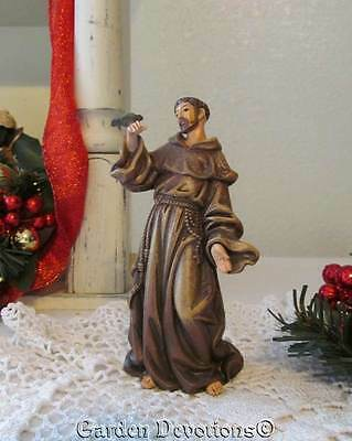 """Very Nice! 4"""" ST. FRANCIS OF ASSISSI STATUE Durable Indoor / Outdoor Resin NEW!"""