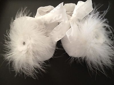 White Mary Jane Felt Shoes With Fluff For Reborn Dolls