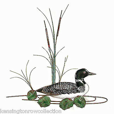 Wall Art -  Loon Amidst Lily Pads And Cattails Metal Wall Decor - Duck