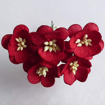 Craft Embellishments Mulberry Paper Flowers  5 X CHERRY BLOSSOMS Various Colours