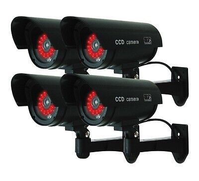 (4 Pack) Black Dummy Fake Security Camera Cameras,30 Illuminating LEDs