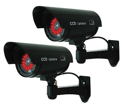 (2 Pack) Black Dummy Fake Security Camera Cameras,30 Illuminating LEDs