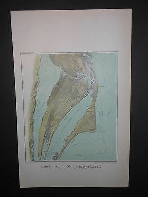 Lagoon Harbor Cape Canaveral Florida 1893 Map Hand Colored