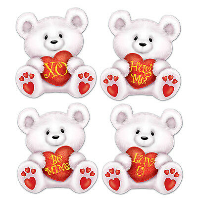 BEISTLE VALENTINE'S DAY CUTOUT ASSORTMENT BEAR CUPID GLITTERED FOIL HEART, NEW