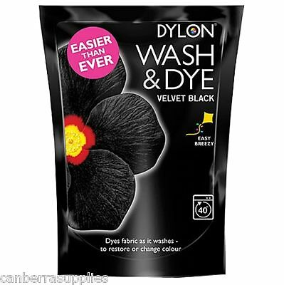 Dylon Wash & Dye Velvet Black Fabric & Clothes - 350g
