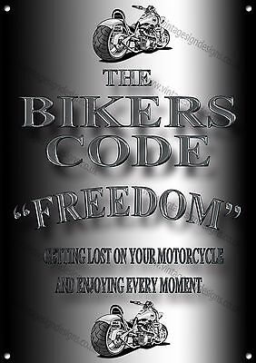 """The Bikers Code """"freedom"""" Metal Sign.motorcycle Enthusiast,collectable,retro"""