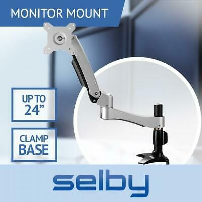 "Up to 24"" 10kg Single Tilt Swivel Arm LCD Monitor VESA Mount Desk Clamp Base"