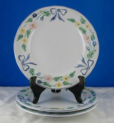 HEREND VILLAGE POTTERY HUNGARY HANDPAINTED MAJOLICA 3 Salad Plates Bows,Flowers