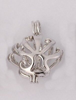Open Flower 15mm Silver Hinged BEAD CAGE Pendant or Charm 1pc