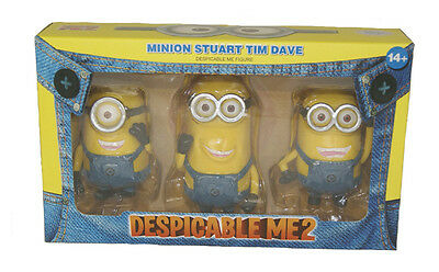"""Set Of 3 Despicable Me 2 Minion STUART TIM DAVE Action Figure New In Box 3-4.5"""""""