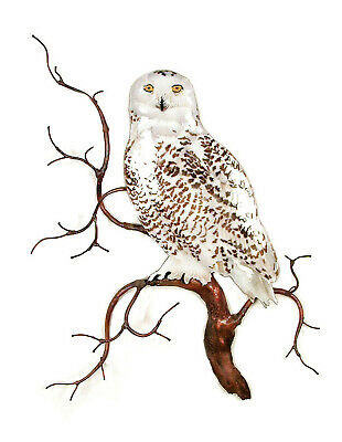 visually stunning piece OF Art Antique Mint Metal Owl on Branch Wall Decor
