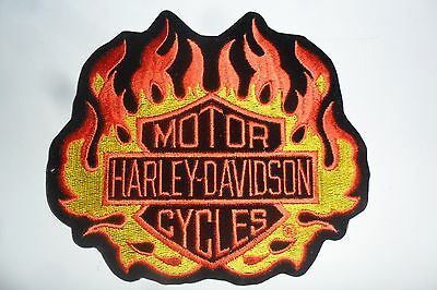 "Vintage Harley Davidson Orange & Yellow Flamed Bar and Shield Patch 5"" x 6"" RARE"