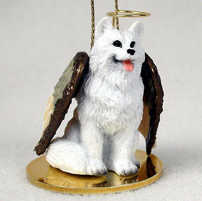 American Eskimo Dog Figurine Ornament Angel Statue Hand Painted