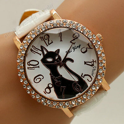 Round Dial Lovely Cat Crystal Quartz Wrist Watch Leather Band Lady Women Girls
