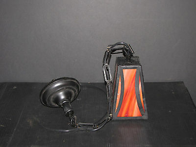 Painted Black Pendulum Light With Red Stained Glass Sides 6005