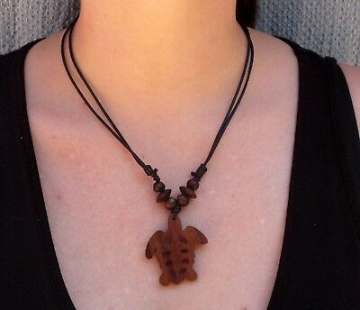 Handcarved Wooden MAORI TURTLE NECKLACE sono wood necklace jewelry