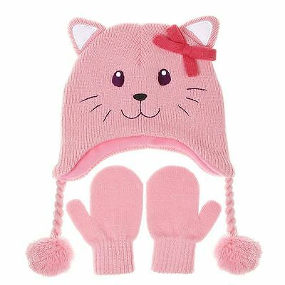 Cozy Nuzzles Hat and Mittens Set with Pink Cat Design Small Size 2-5 Years 36012