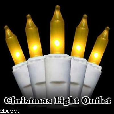 FREE SHIP 50 Mini Gold/Yellow Christmas Outdoor String Lights 12 foot White Wire