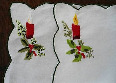 2 Vintage Linen Placemats Tray Doily Embroidered Candles & Holly Berries