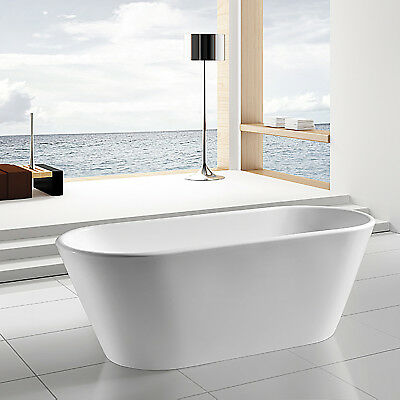 "67"" Contemporary Bathroom White Acrylic FreeStanding Bathtub w Chrome Tub Faucet"