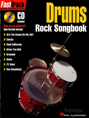 Drums Rock Songbook FastTrack Music Instruction Learn to Play Songs Book & CD