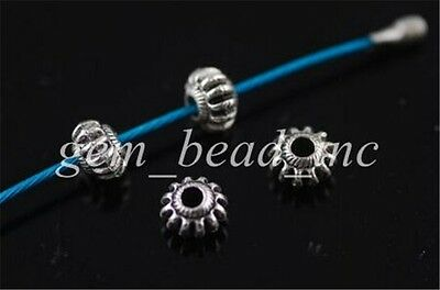 50Pcs Charms Tibetan Silver Crafts Jewelery Finding Spacer Rondelle Beads 6x4mm