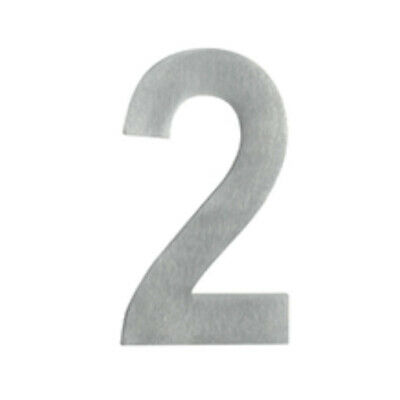 Delf Door House Number # 2 SS652 65mm Rear Fix On Post Satin Stainless Steel