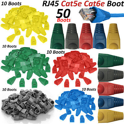 50 Pack RJ45 Cat5e Cat6e Network Ethernet Cable Connector Cover Boots Ends Plug