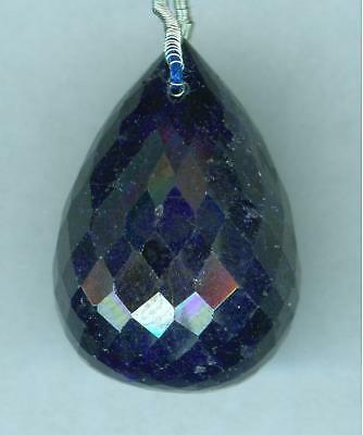 52.5 Ct Faceted Sapphire Briolette Drilled Bead  Pendant Bead  WOW   23x16