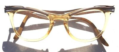 vintage 1950s cat eye eyeglasses glasses frames aluminum silver gold clear