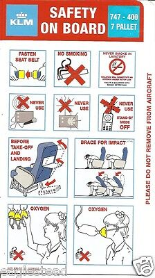 Safety Card - KLM - B747 400 - 7 Pallet - 1998 (S3373)