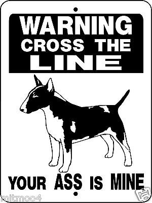 "BULL TERRIER DOG SIGN, GUARD DOG,9""x12"" Aluminum Sign, Decal, Dogs, D850"