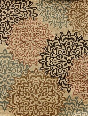 New City Contemporary Brown and Beige Modern Floral Flowers Area Rugs 1044