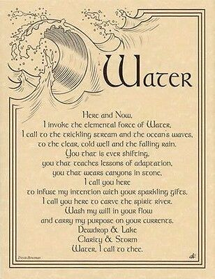 WATER INVOCATION - POSTER A4 SIZE Wicca Pagan Witch Goth BOOK OF SHADOWS