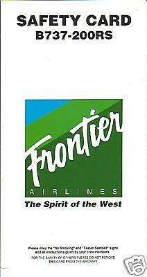 Safety Card - Frontier - B737 200 RS - 1994 (SC1465)