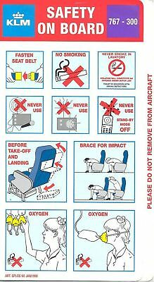 Safety Card - KLM - B767 300 - 1998 - 60 - Purple Bkgnd (S2886)